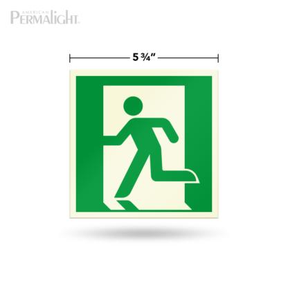 "PERMALIGHT® 5-3/4"" Photoluminescent Left Running Man Directional Sign (Aluminum, Self-Adhesive, UL1994-listed)"