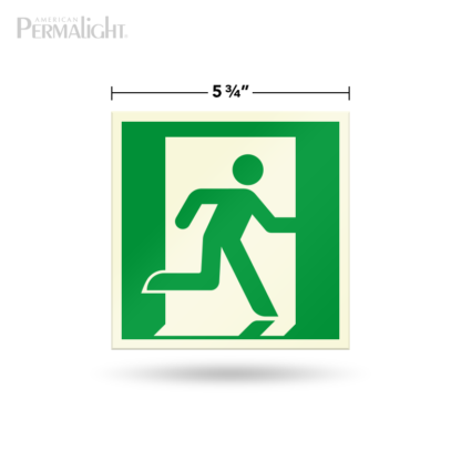 "PERMALIGHT® 5-3/4"" Photoluminescent Right Running Man Directional Sign (Aluminum, Self-Adhesive, UL1994-listed)"