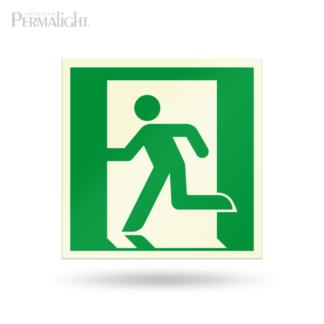 "PERMALIGHT® 7-7/8"" Photoluminescent Left Running Man Directional Sign (Aluminum, Self-Adhesive, UL1994-listed)"