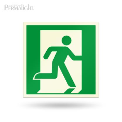"PERMALIGHT® 7-7/8"" Photoluminescent Right Running Man Directional Sign (Aluminum, Self-Adhesive, UL1994-listed)"