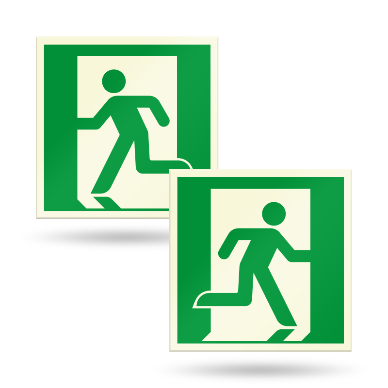 PERMALIGHT® Photoluminescent Emergency Exit Running Man Directional Signs