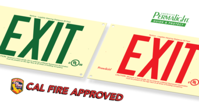 American PERMALIGHT® Cal Fire Approved Photoluminescent Exit Signs