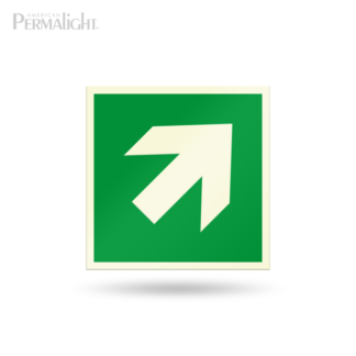 "PERMALIGHT® 5-3/4"" Photoluminescent Inclined/Diagonal Arrow Directional Sign (Aluminum, Self-Adhesive, UL1994-listed)"