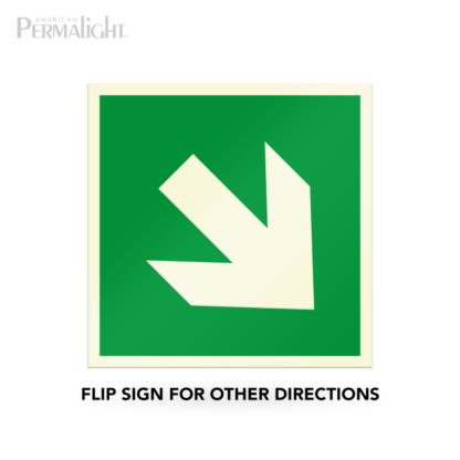 "PERMALIGHT® 7-7/8"" Photoluminescent Inclined/Diagonal Arrow Directional Sign (Aluminum, Self-Adhesive, UL1994-listed)"