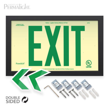 """PERMALIGHT® Photoluminescent PVC Plastic Exit Sign - IBC/IFC Compliant - Cal-Fire Approved - 6"""" Lettering"""