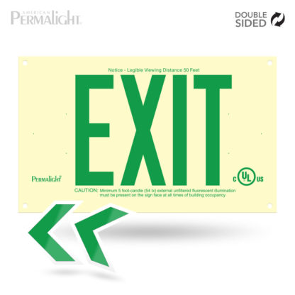 PERMALIGHT® Photoluminescent UL924-listed Rigid PVC Exit Sign, Green Lettering, Double-Sided
