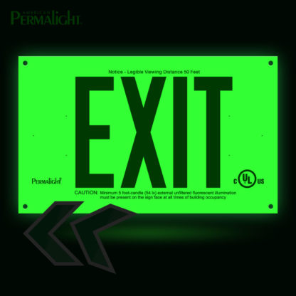 PERMALIGHT® Photoluminescent UL924-listed Rigid PVC Exit Sign, Green Lettering, Single-Sided