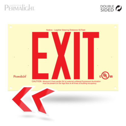 PERMALIGHT® Photoluminescent UL924-listed Rigid PVC Exit Sign, Red Lettering, Double-Sided
