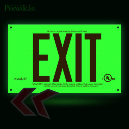 PERMALIGHT® Photoluminescent UL924-listed Rigid PVC Exit Sign, Red Lettering, Single-Sided