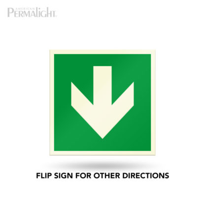 "PERMALIGHT® 5-3/4"" Photoluminescent Straight Arrow Directional Sign (Aluminum, Self-Adhesive, UL1994-listed)"