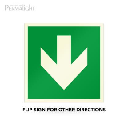 "PERMALIGHT® 7-7/8"" Photoluminescent Straight Arrow Directional Sign (Aluminum, Self-Adhesive, UL1994-listed)"