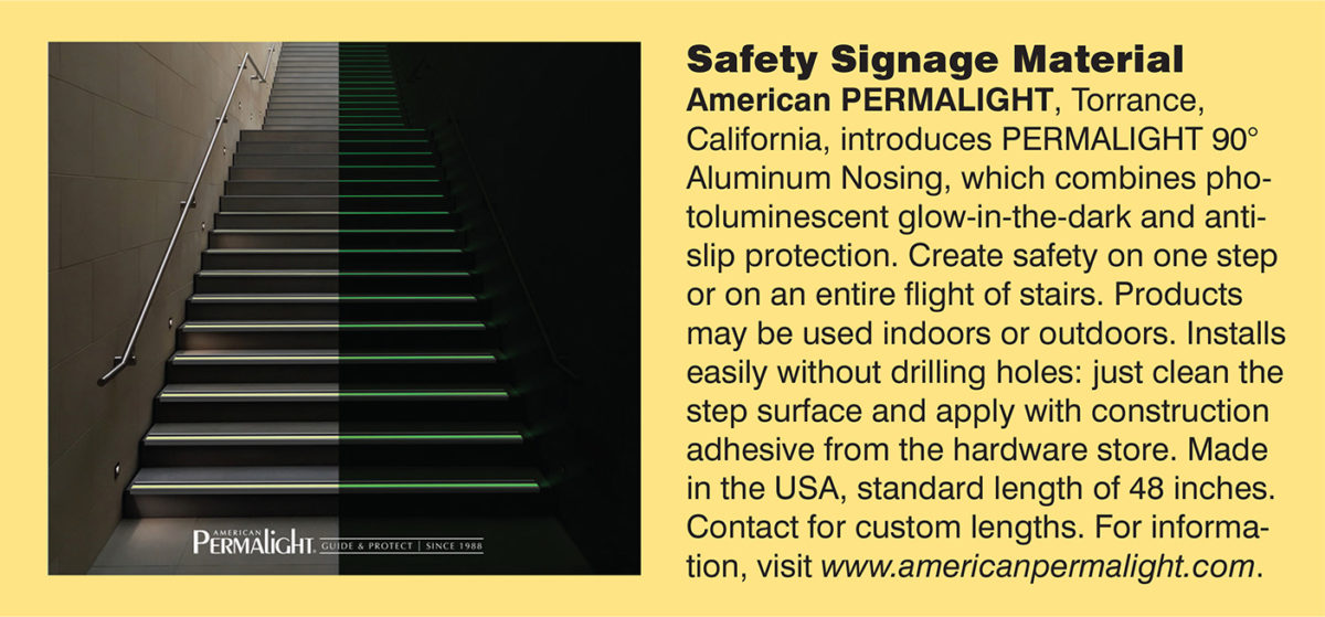 PERMALIGHT® Photoluminescent Aluminum Stair Nosings featured in SDG Magazine, March 2020
