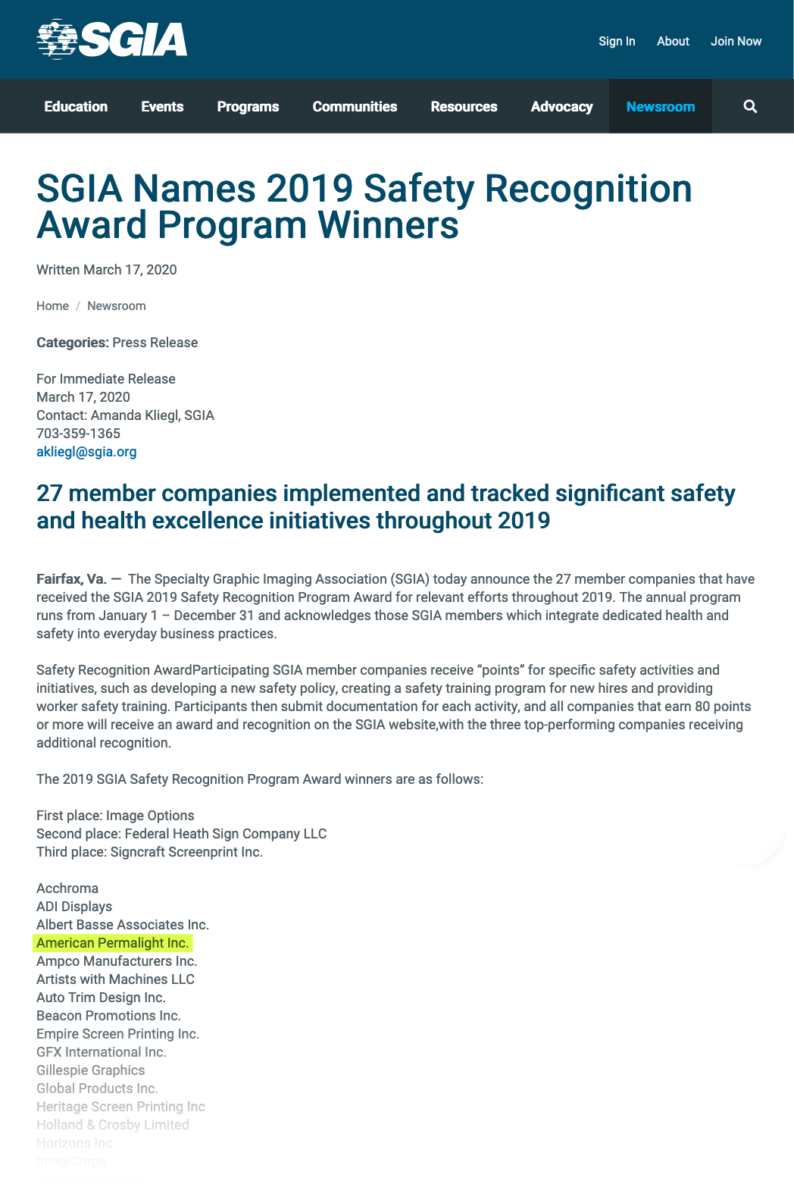 American PERMALIGHT® is named as a 2019 Safety Recognition Award winner by SGIA