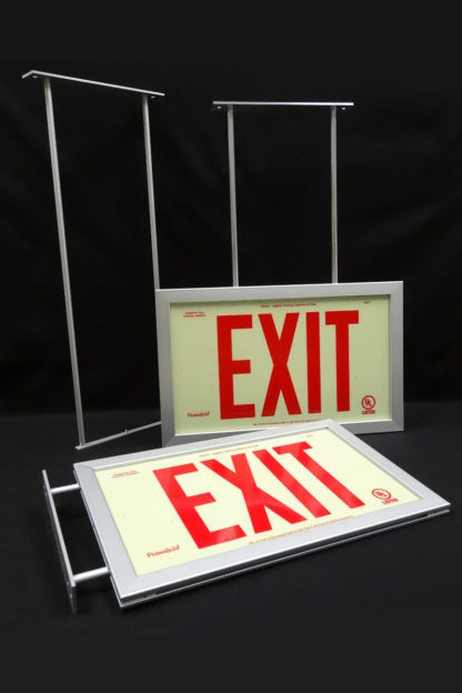 Three mounting bracket options for framed exit signs