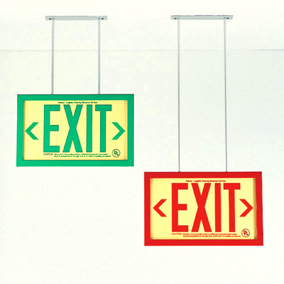 Two mounting bracket options for framed exit signs