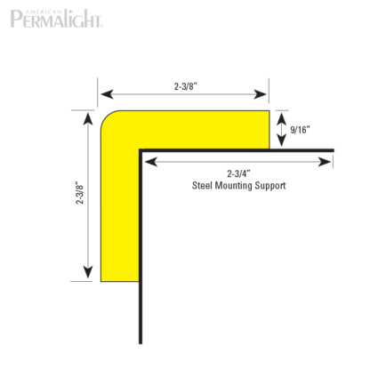 American PERMALIGHT® Safety Foam Guard - Type H+ Steel Mounting Support Cross Section Dimensions